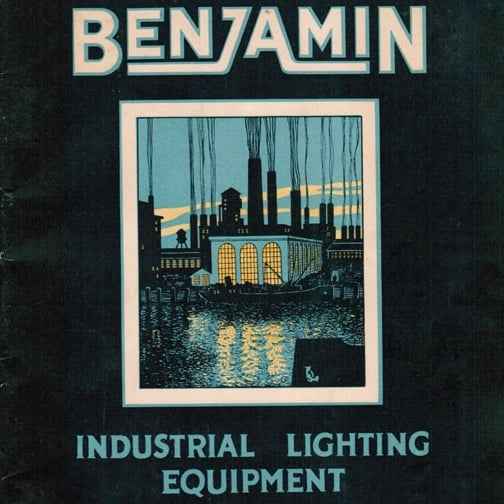 old advert for Benjamin Industrial Lighting Equipment with painting of an old style factory