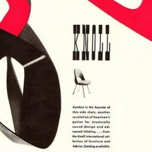 old advert for a chair with black and red shapes and the wording Knoll above an old chair